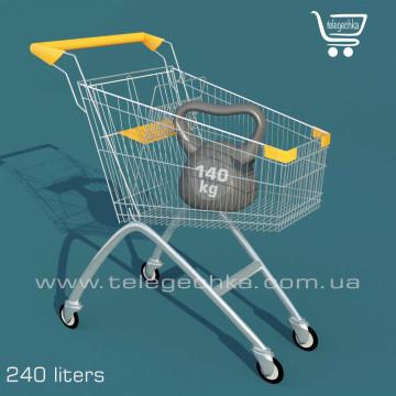 Покупательские тележки для супермаркета на 240 литров S, рамеры тележки