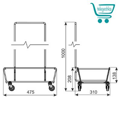 Подставка для корзин на колесах Р3
