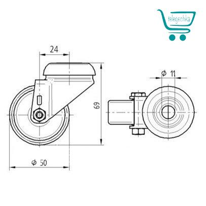 Колеса для покупательских тележек TENTE 50 мм