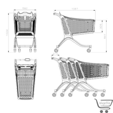 Пластиковая тележка, Гибритдная покупательская тележка - H 175 hybrid POLYCART Пластиковая покупательская тележка c железной основой