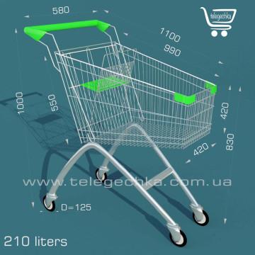 тележка для супермаркета на 210 литров, размеры тележки покупательской