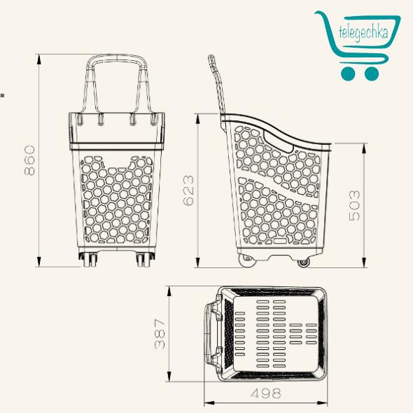 Пластиковая покупательская корзина-тележка - B65 Smooth Basket
