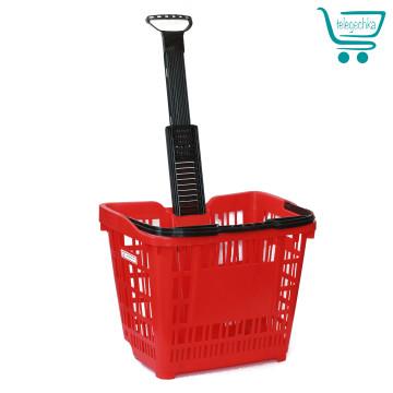 покупательская корзина для супермаркета на колесах с выдвижной ручкой